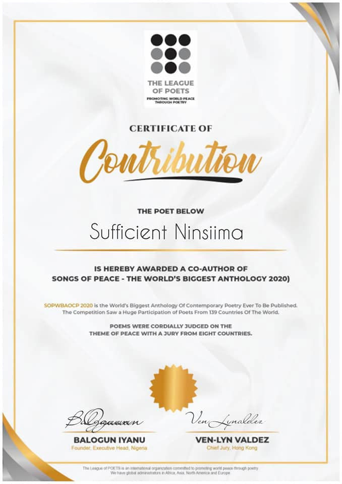 certificate of contribution league of poets